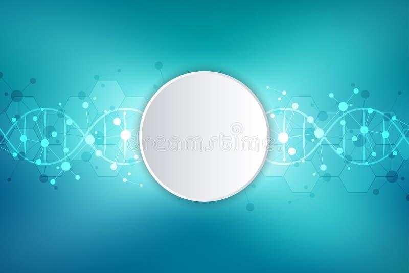 DNA-schroef en moleculaire structuur Wetenschap en technologieconcept met moleculesachtergrond stock illustratie