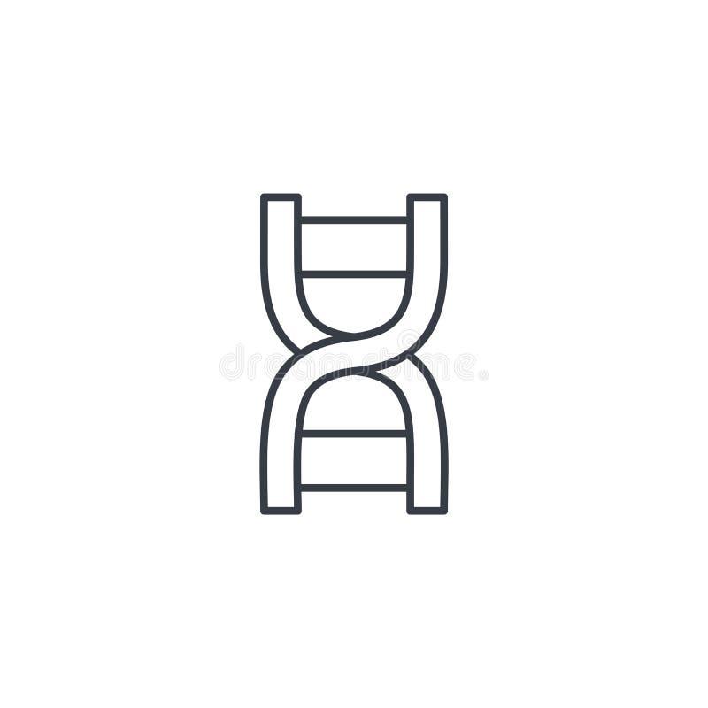 DNA, scienza genetica, molecola, linea sottile icona di biologia Simbolo lineare di vettore illustrazione di stock