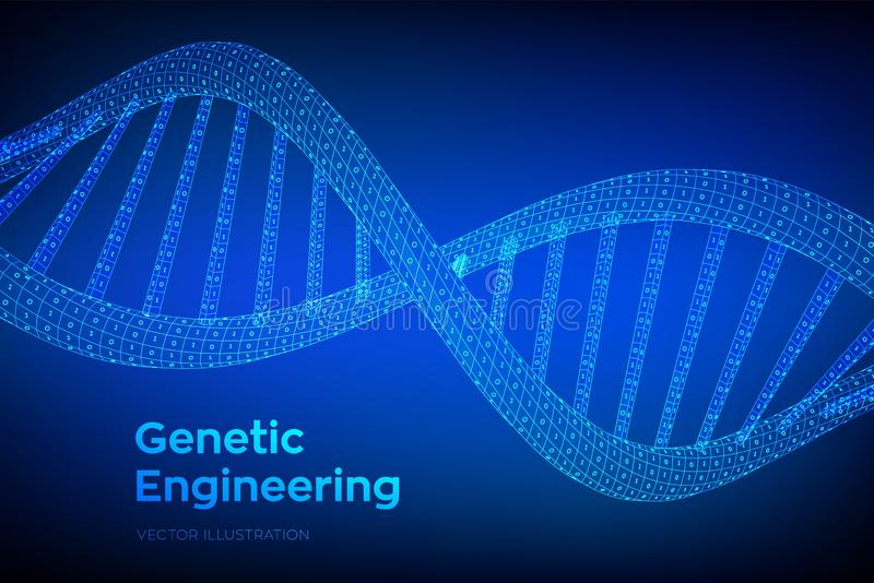 DNA sequence. Concept binary code human genome. Wireframe digital DNA molecules structure mesh. Artifical intelegence DNA code stock illustration