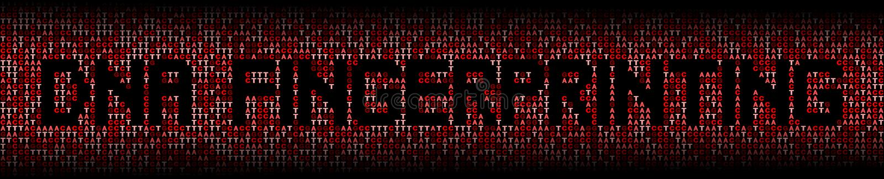 DNA som identifierar med fingeravtryck text på illustration för DNAgenetisk kodbakgrund stock illustrationer