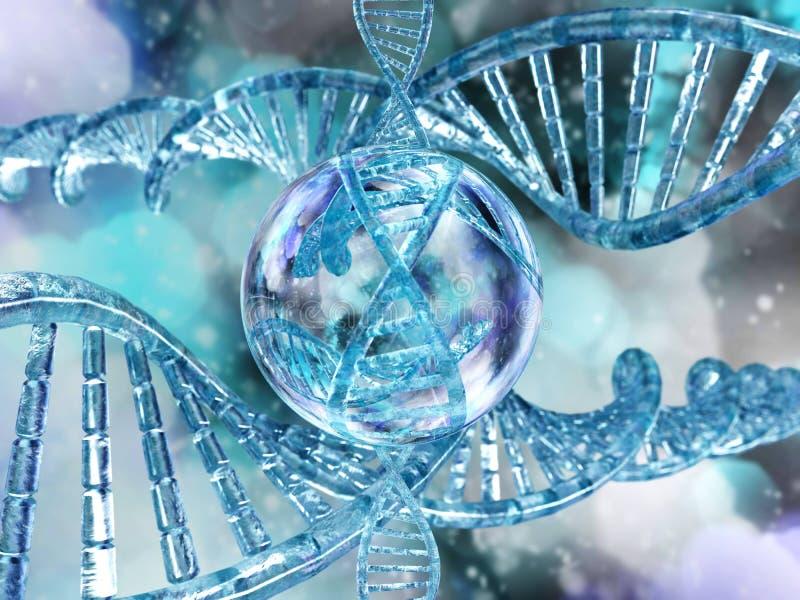 DNA-spiraal op een vage achtergrond stock illustratie