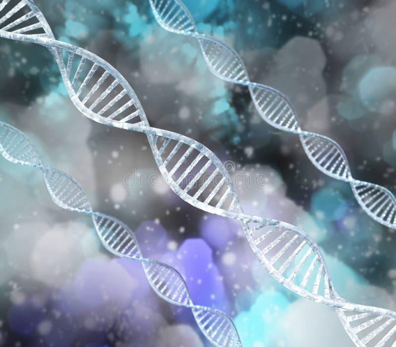 DNA-spiraal op een vage achtergrond royalty-vrije illustratie