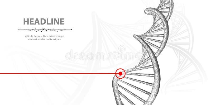 DNA Spirale poligonale dell'elica della molecola del DNA del wireframe dell'estratto 3d su fondo bianco royalty illustrazione gratis