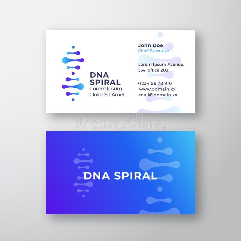 DNA spirali wektoru Abstrakcjonistyczny znak lub szablon logo i wizytówki Premia Stacjonarny Realistyczny egzamin próbny Up nowoż ilustracja wektor