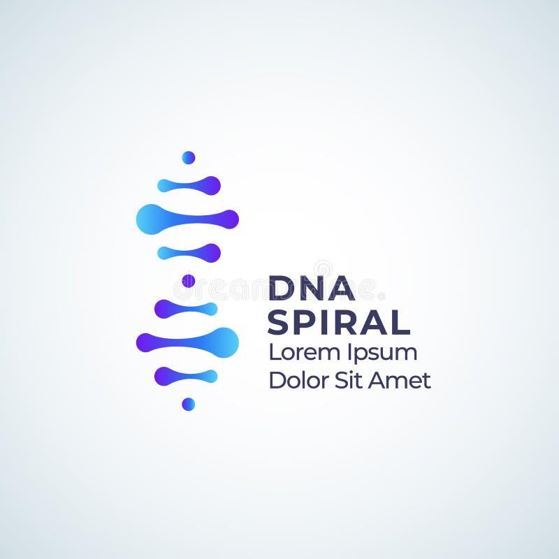 DNA spirali wektoru Abstrakcjonistyczny znak, symbol lub logo szablon, Nowożytny technologii, medycyny lub biotechnologii emblema ilustracji
