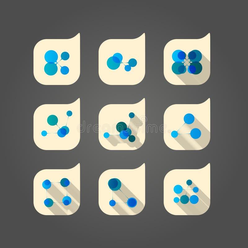 DNA stabilito di vettore ed icona astratta della rete royalty illustrazione gratis