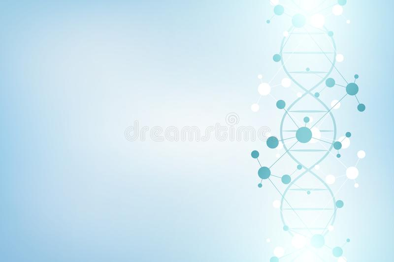 DNA strand and molecular structure. Genetic engineering or laboratory research. Background texture for medical or. Scientific and technological design. Vector stock illustration
