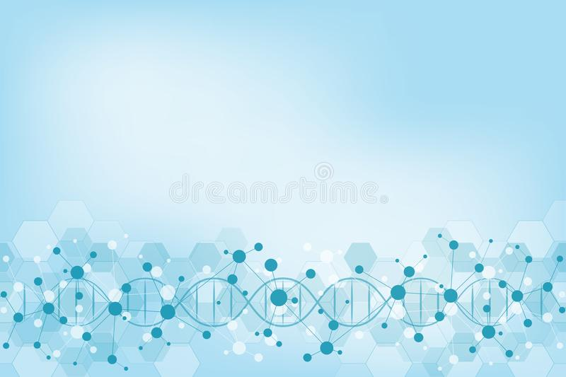DNA strand and molecular structure. Genetic engineering or laboratory research. Background texture for medical or. Scientific and technological design royalty free illustration
