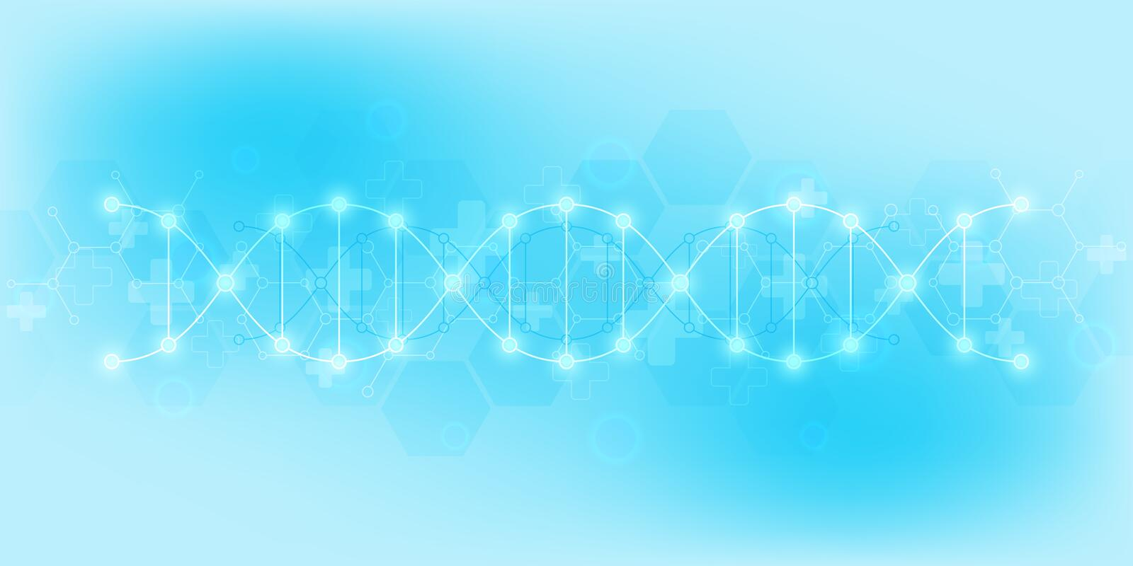 DNA strand and molecular structure. Genetic engineering or laboratory research. Background texture for medical or. Scientific and technological design stock illustration