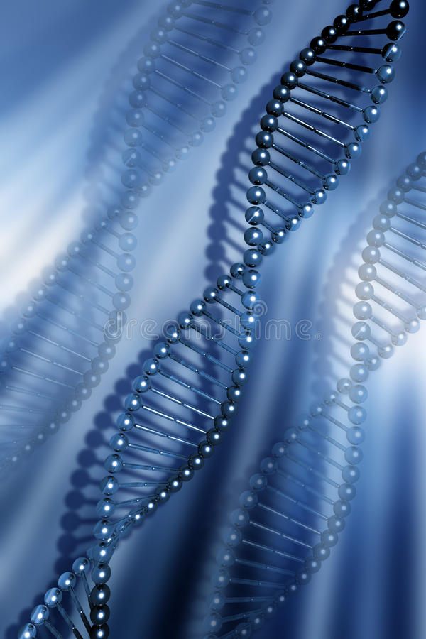 DNA strands. On abstract background vector illustration