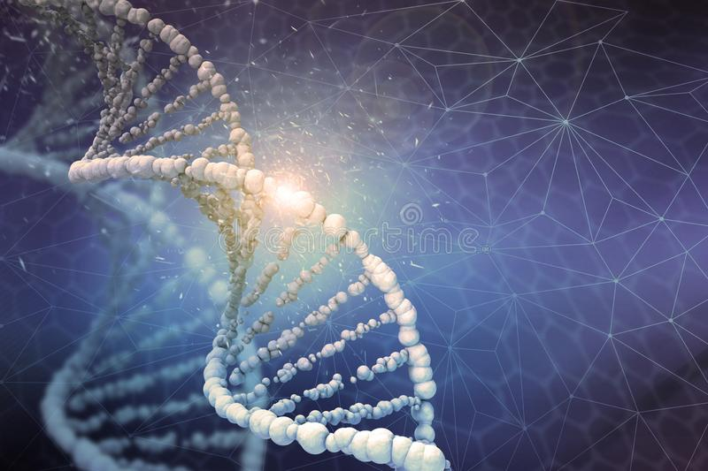 DNA structure Digital illustration in colour background. DNA helix. Human genome research. Genetic modification. Biotechnology of future in 3D illustration stock image