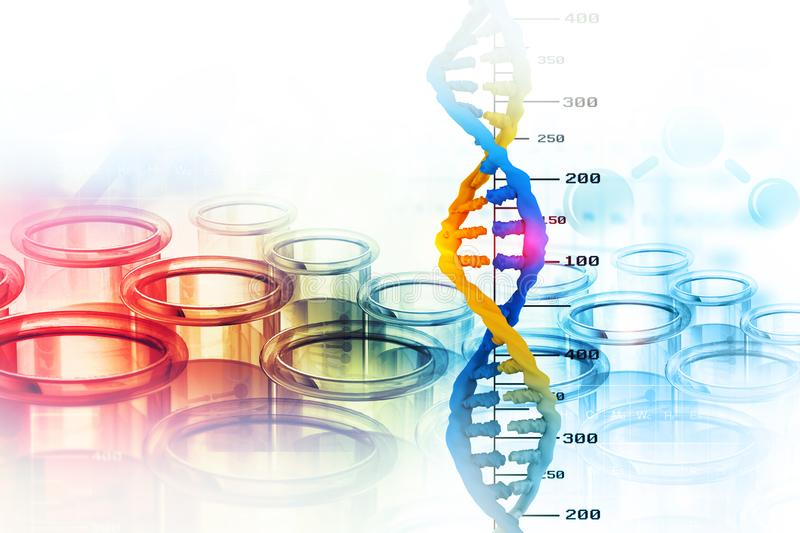 Dna structure. On scientific background stock illustration
