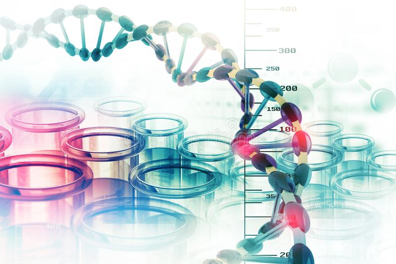Dna structure. On scientific background vector illustration