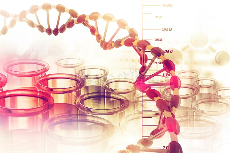 Dna structure. On scientific background royalty free illustration