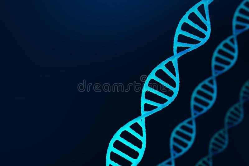 DNA-structuur, blauwe abstracte achtergrond stock illustratie