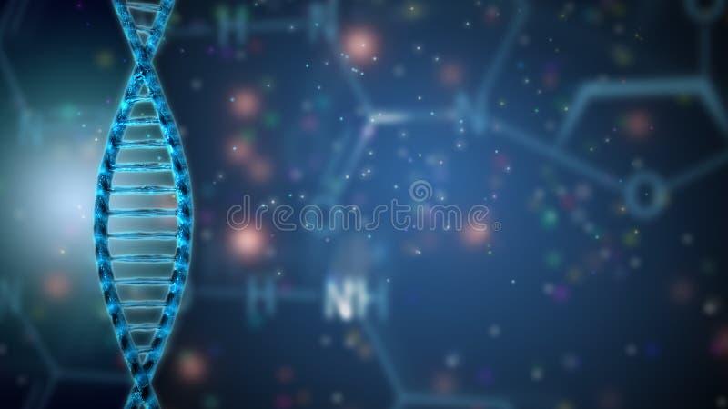 DNA-structuur, medisch onderzoekachtergrond vector illustratie