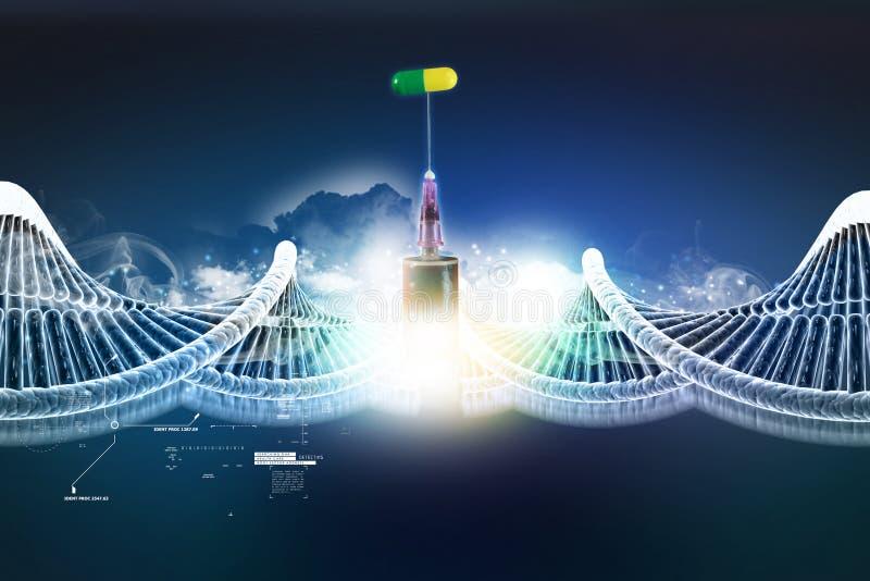 DNA-structuur met spuit en capsule stock illustratie