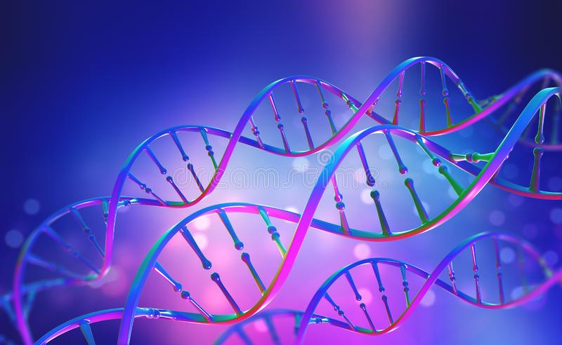 DNA. Study of gene structure of cell. DNA molecule structure. 3D double helix illustration. Genetic engineering of the future. Full color, bright background vector illustration