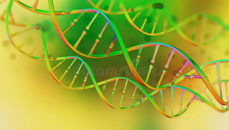 DNA. Study of gene structure of cell. DNA molecule structure. 3D double helix illustration. Genetic engineering of the future. Full color, bright background stock illustration
