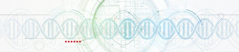 DNA:t gör sammandrag symbolen och beståndsdelsamlingen futuristic teknologi vektor illustrationer
