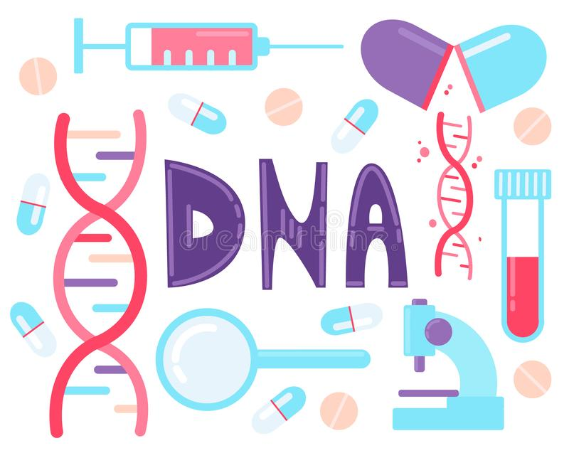 DNA test, Genome sequencing. Set of elements dna, syringe, magnifier, microscope, pills stock illustration