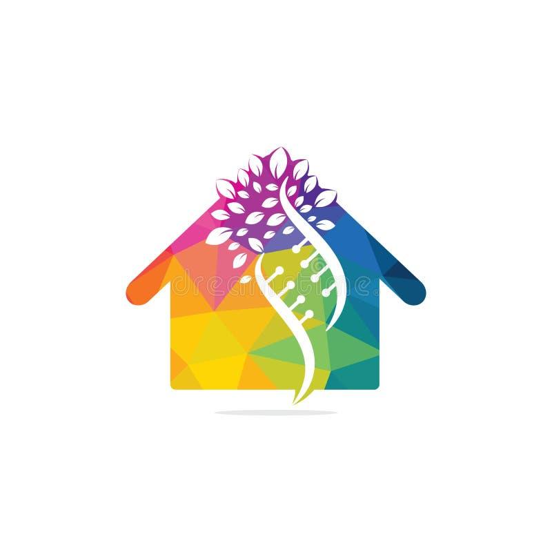 Dna tree and house shape vector logo design. vector illustration