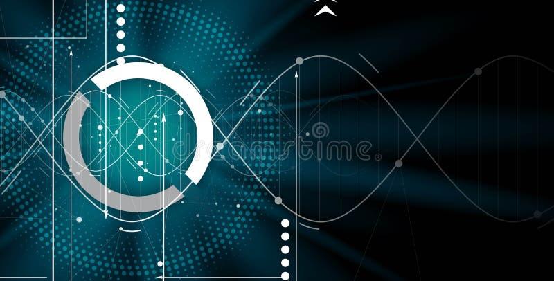 DNA und medizinischer und Technologiehintergrund futuristisches Molekül s stock abbildung