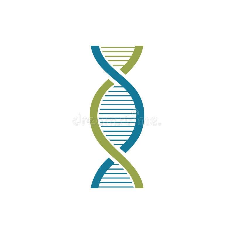 DNA-vector het embleemontwerp van het schroef wetenschappelijk laboratorium stock illustratie