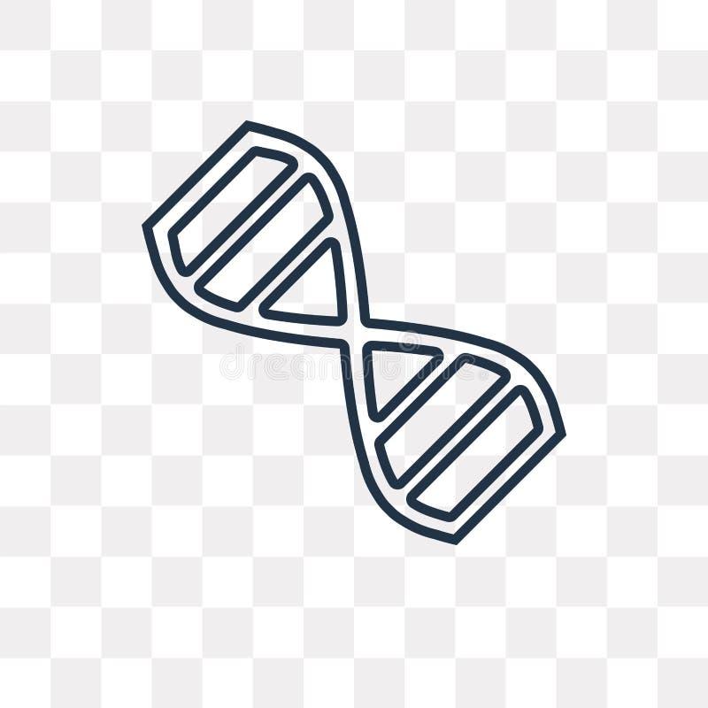 DNA-Vektorikone auf transparentem Hintergrund, lineare DNA t vektor abbildung