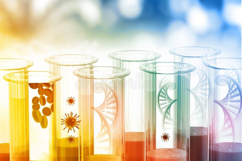 DNA, virus, bloedcellen met de reageerbuizen van het wetenschapslaboratorium vector illustratie