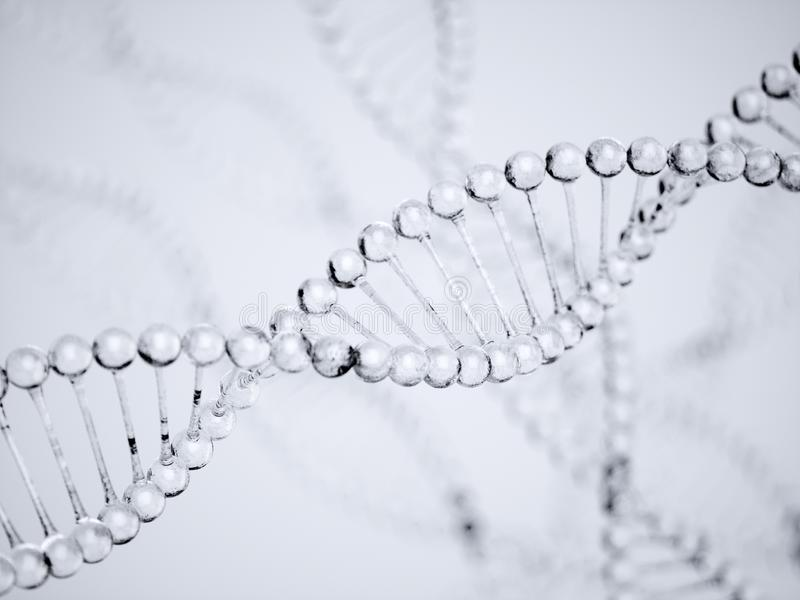 DNA water structure model with soft focus stock photo