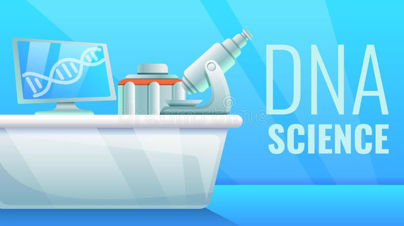 DNA-Wissenschaftskonzeptfahne, Karikaturart vektor abbildung