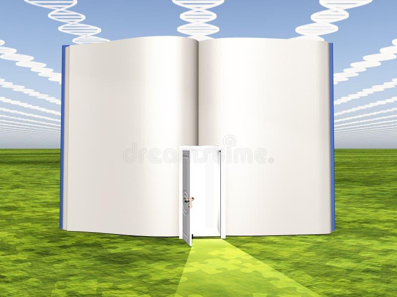 DNA-wolken met open boek royalty-vrije illustratie