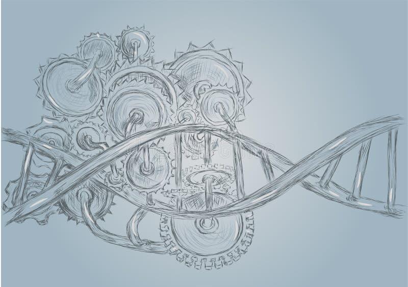 DNA y engranajes ilustración del vector