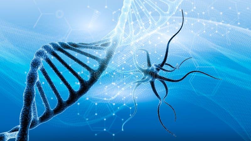 DNA y fondo médico y de la tecnología presentación futurista de la estructura del virus de la molécula ilustración del vector