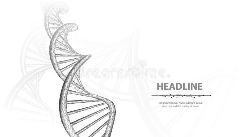 DNA Zusammenfassung 3d polygonale wireframe DNA-Molekülschneckenspirale auf weißem Hintergrund lizenzfreie abbildung