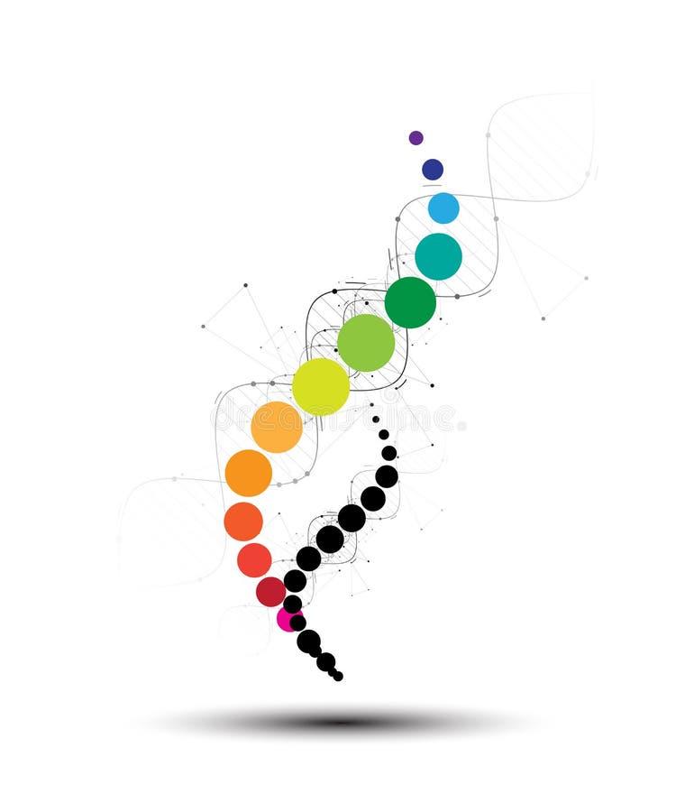 DNA-Zusammenfassungsikone und Elementsammlung Futuristische Technologie vektor abbildung