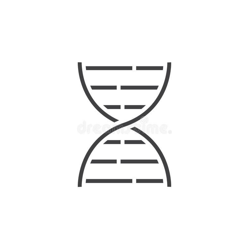 DNAlinje symbol, översiktsvektorlogo, linjär pictogram som isoleras på royaltyfri illustrationer