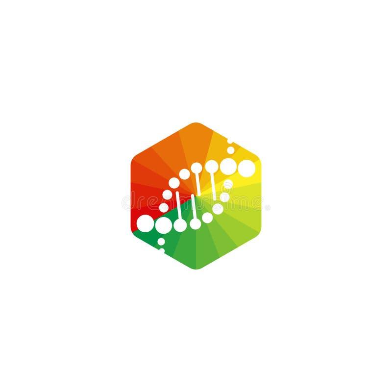 DNAlogo, spiral och sexhörningsvektorsymbol royaltyfri illustrationer