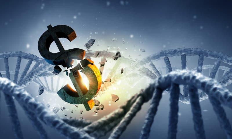 DNAmolekyl och dollartecken vektor illustrationer