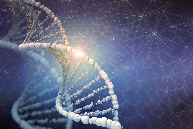 DNAstrukturDigital illustration i färgbakgrund fotografering för bildbyråer