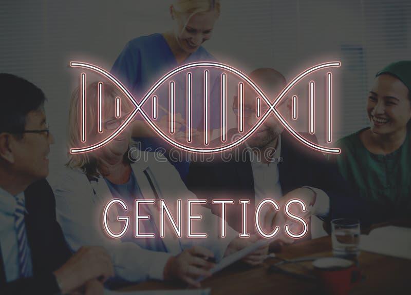 DNAsymbol och kromosomgenetikbegrepp royaltyfria bilder