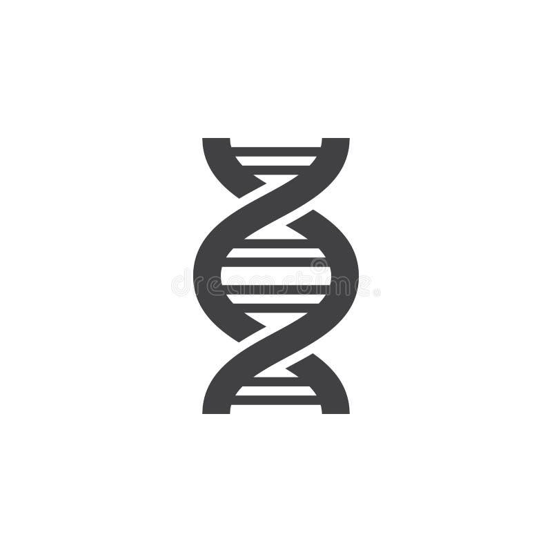 DNAsymbolsvektor, fyllt plant tecken, fast pictogram som isoleras på vit stock illustrationer