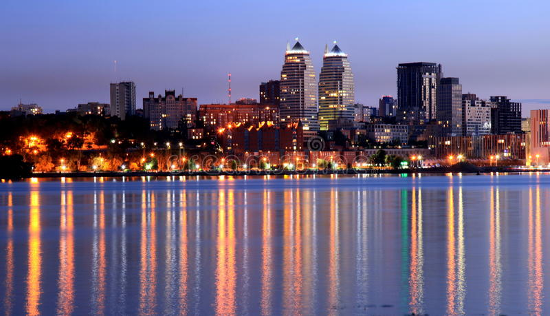 Dnepr city view at night, lights reflected on the river Dnieper, Ukraine. Dnipro, Dnipropetrovsk, Dnepropetrovsk royalty free stock photography