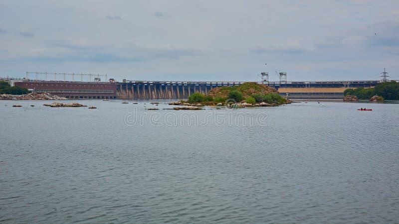 Dneproges - la plus grande centrale hydroélectrique sur la rivière de Dnieper  photo stock