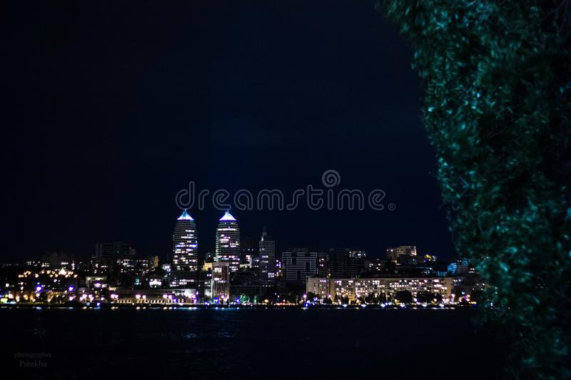 Dnepropetrovsk in nighttime beautiful. Ukraine royalty free stock photo