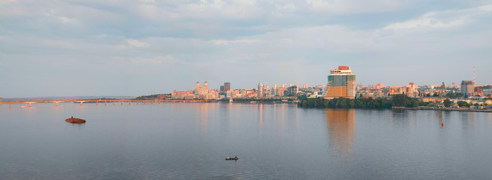 Dnepropetrovsk Dnepr, Dnipro. Dnepropetrovsk, panorama of the city, on the banks of the Dnieper river royalty free stock photos