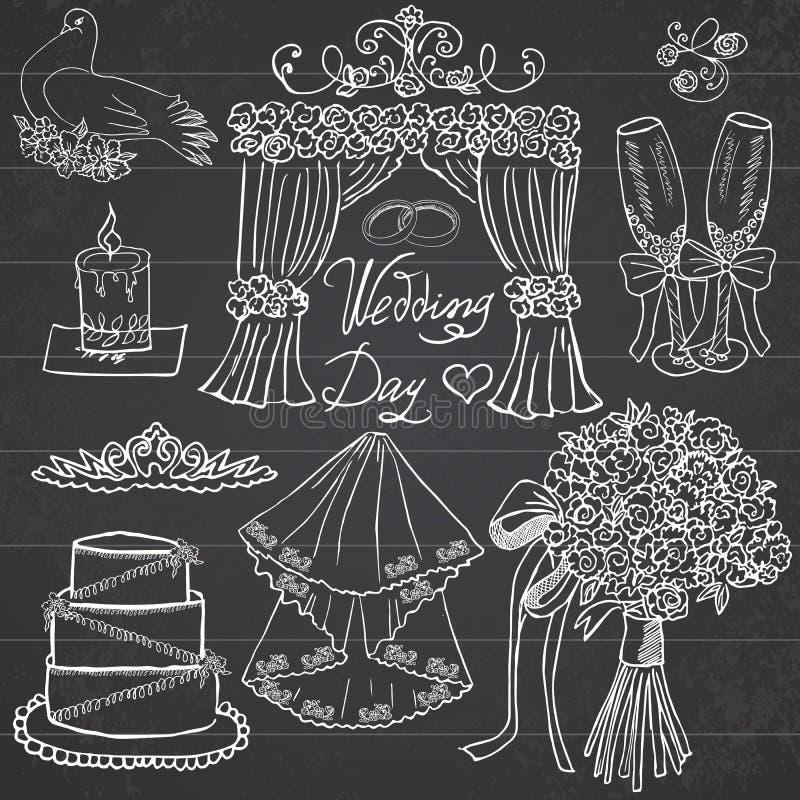 Dni ślubu elementy Wręcza rysującego set z kwiatami, świeczką, szkłami i świątecznymi atrybutami, ilustracji