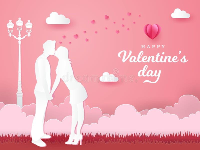 dni karty pozdrowienia s walentynki romantyczne pary mienia i całowania ręki na różowym tle ilustracja wektor