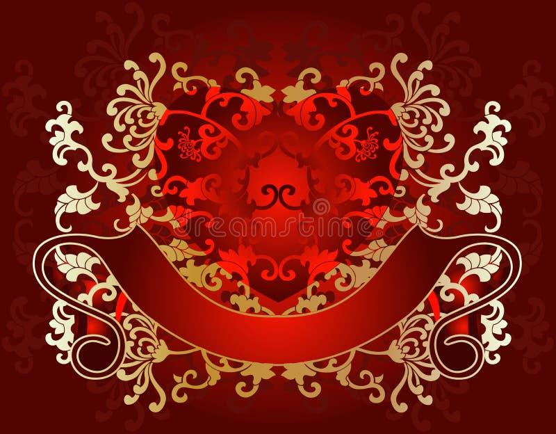 dni karty złotego czerwony walentynki ilustracji